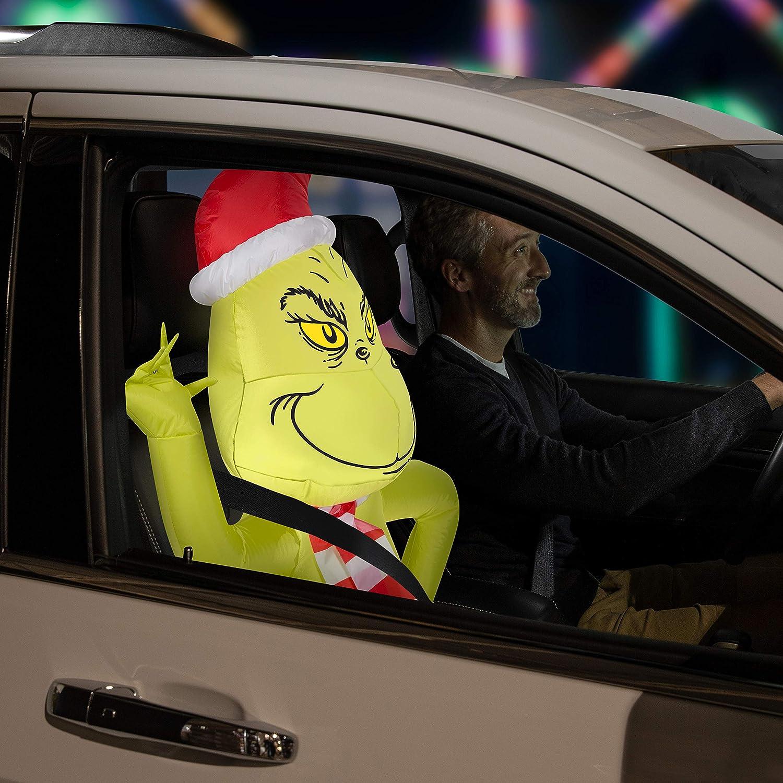Gemmy Airblown Car Buddy Grinch w/Scarf-Dr. Seuss
