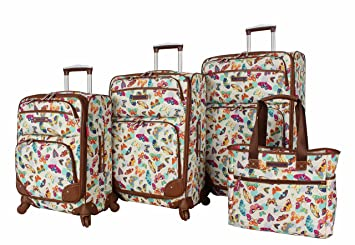 02ad2dfcdc32 Lily Bloom Luggage Set 4 Piece Suitcase Collection With Spinner Wheels For  Woman (Butterfly Twister)