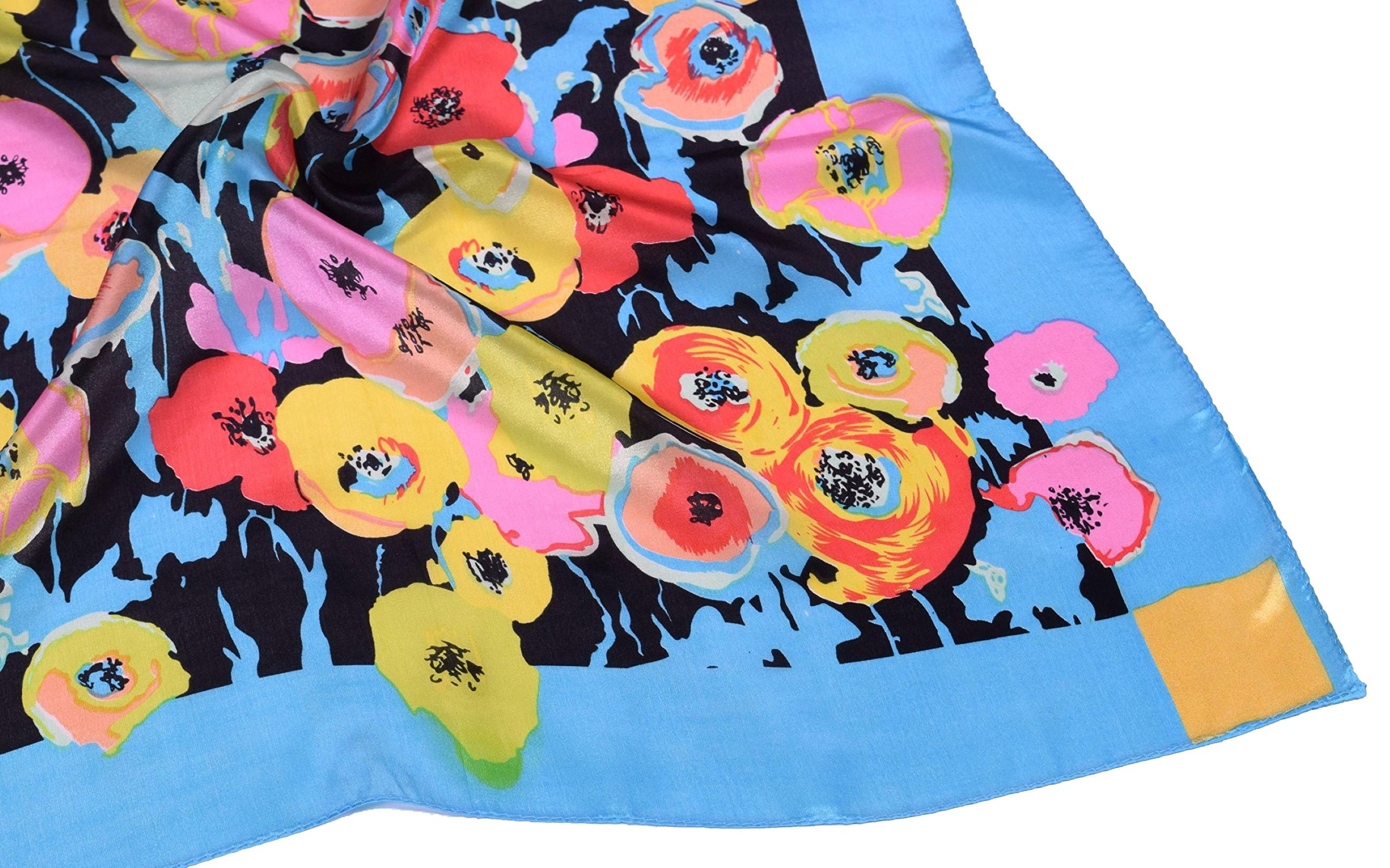 Blue Red Pink Flower Printed Fine Small Square Silk Scarf by Bees Knees Fashion (Image #4)