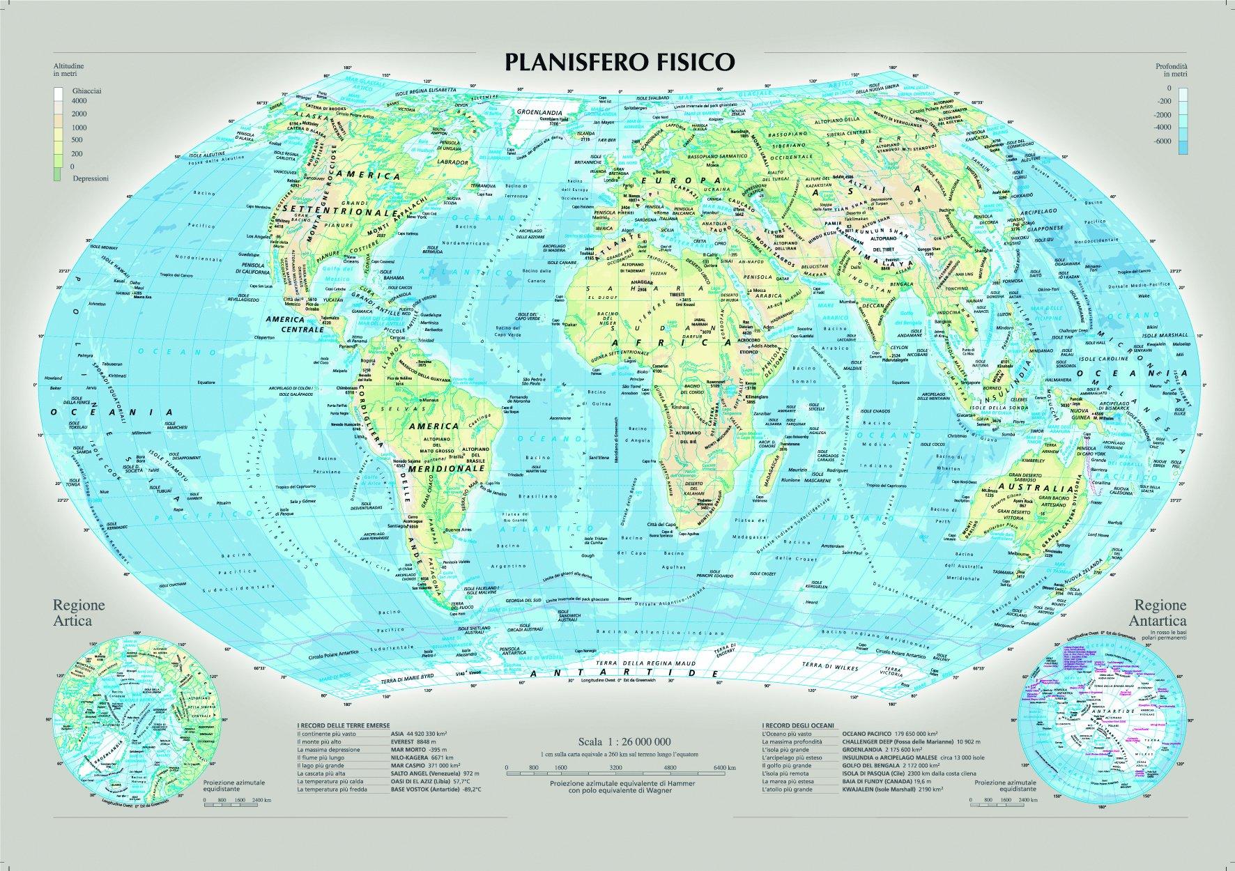 Cartina Geografica Del Mondo Fisica.Amazon It Planisfero Fisico E Politico Carta Murale Aa Vv Libri
