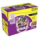whiskas Junior Wet Cat Food for Kittens and Young Cats 2-12 Months, Poultry Selection in Gravy, 48 Pouches (48 x 100 g)