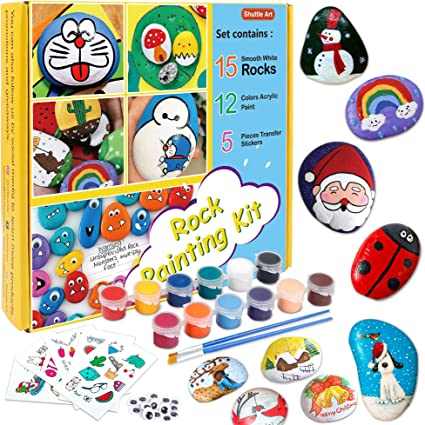 Amazon Com Rock Painting Kit Rock Painting Supplies For Kids With 15 White Painting Rocks 12 Colors Acrylic Paint 20 Googly Eyes 5 Pieces Transfer Stickers 4 Glitter Glue Great Gift For Boys Girls Toys