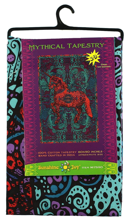 Amazing 3-D Effects Sunshine Joy 3D Unicorn Tapestry Beach Sheet Hanging Wall Art 75190 60X90 inches