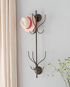 Kings Brand Furniture – Nino Metal 12 Hook Wall Mount Coat & Hat Rack, Pewter