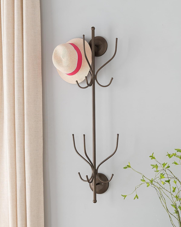 Kings Brand Furniture Metal 12 Hook Wall Mount Coat & Hat Rack, Pewter