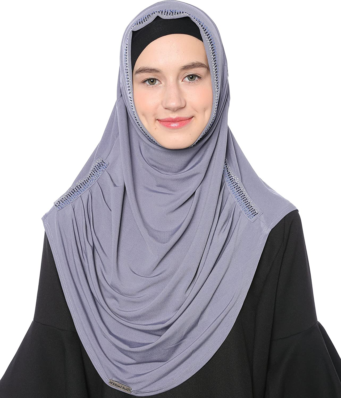 Ababalaya Damen Elegante Weicher Einfarbig Muslim Islamischen Strasssteine Kopftuch Full Cover Schal Jersey Hijab Kaffee HW045-Coffee