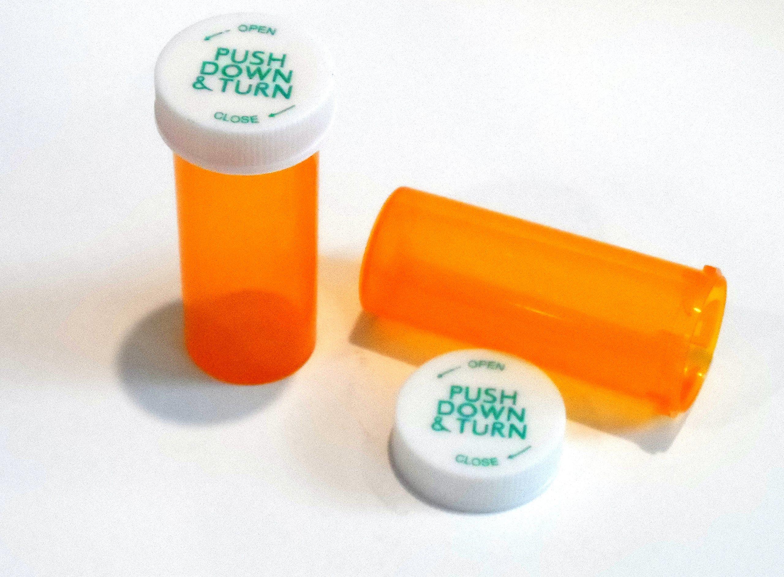 Plastic Prescription Vials/Bottles 100 Pack w/Caps 8 Dram Size-NEW