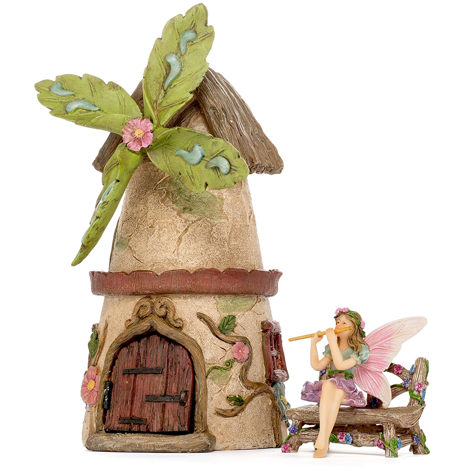 Patio Eden - Fairy Garden House Set - Hand Painted Miniature Figurine Kit - Garden Accessories