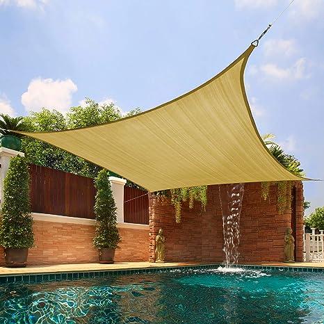 Joyards Toldo Vela de Sombra Cuadrado 3x3 Metros Transpirable Color Arena | Se instala fácil en fachada Exterior, terraza, jardín, pérgola, Patio o ...
