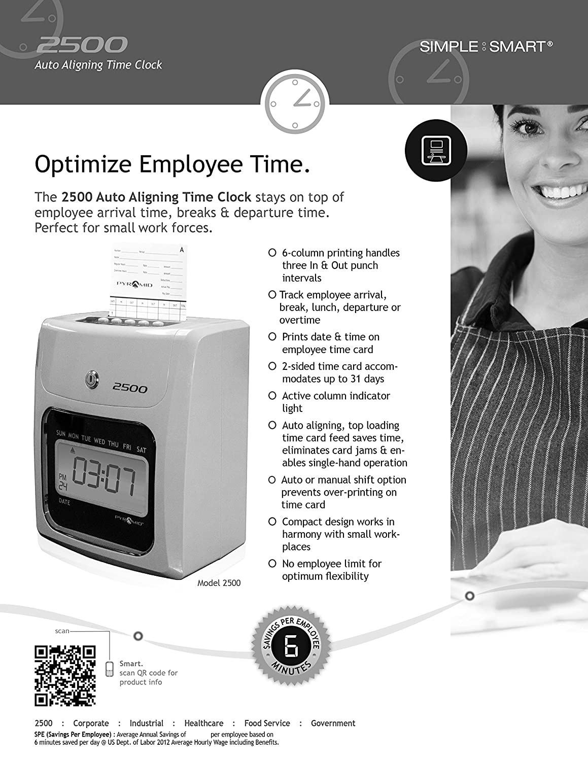 Pyramid 2500 Time Clock Bundle with 100 Time Cards and 1 Time Card Rack No Employee Limit 1 Ribbon