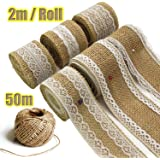 7 Rolls Hessian Ribbon - Hessian Lace Ribbon Burlap Jute Lace Ribbon Jam Jars for Rustic Wedding Decorations DIY Handmade Available in 3cm 5cm 6cm Widths and 164 Feet Jute Twine
