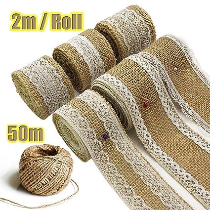 7 Rolls Hessian Ribbon Hessian Lace Ribbon Burlap Jute Lace Ribbon
