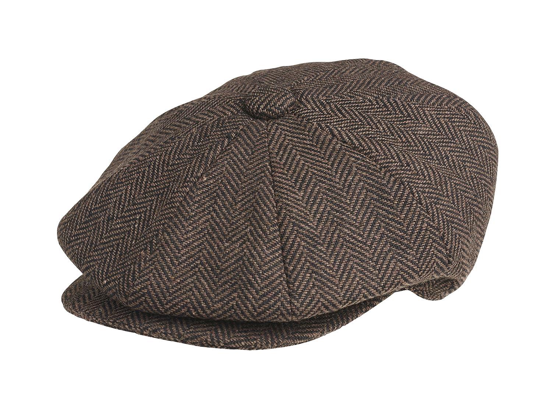 676bd8d44 Peaky Blinders 8 Piece 'Newsboy' Style Flat Cap -100% Wool (Medium (57 cm),  Dark Brown Herringbone)