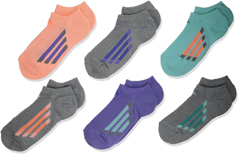Adidas Girl's Vertical Stripe No Show Socks (Pack of 6) 975740