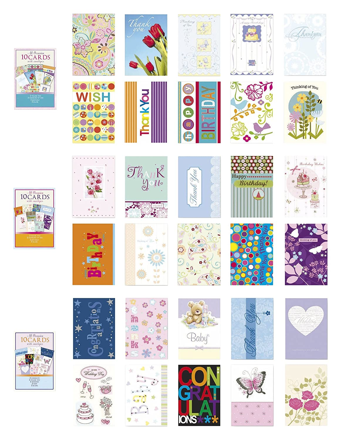 Amazon Com Assorted All Occasion Cards Box Set 30 Pack Thinking