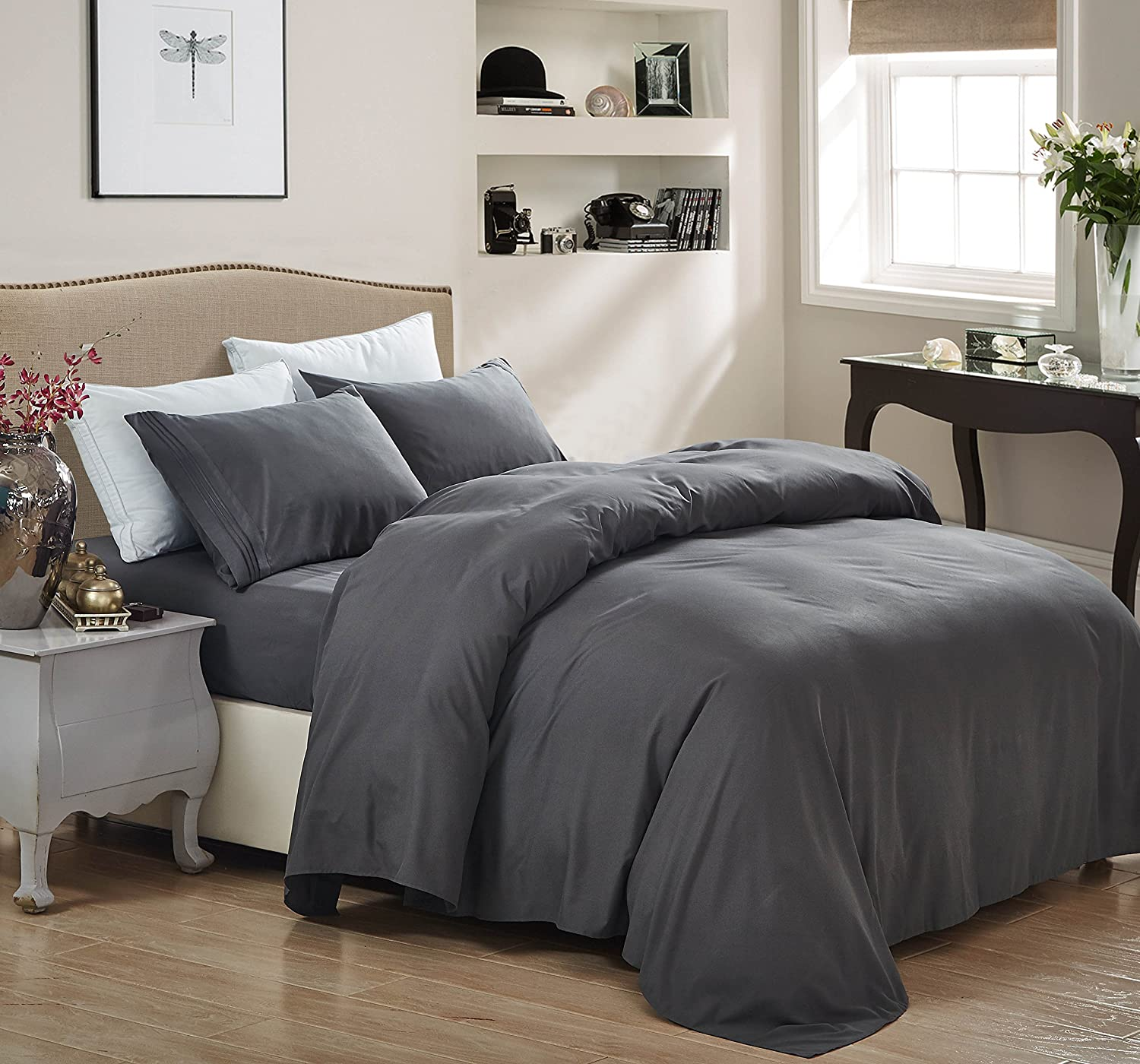 1800 Series Egyptian Collection 3 Line Microfiber 4 Piece Bed Sheet Set (Cal King, Grey