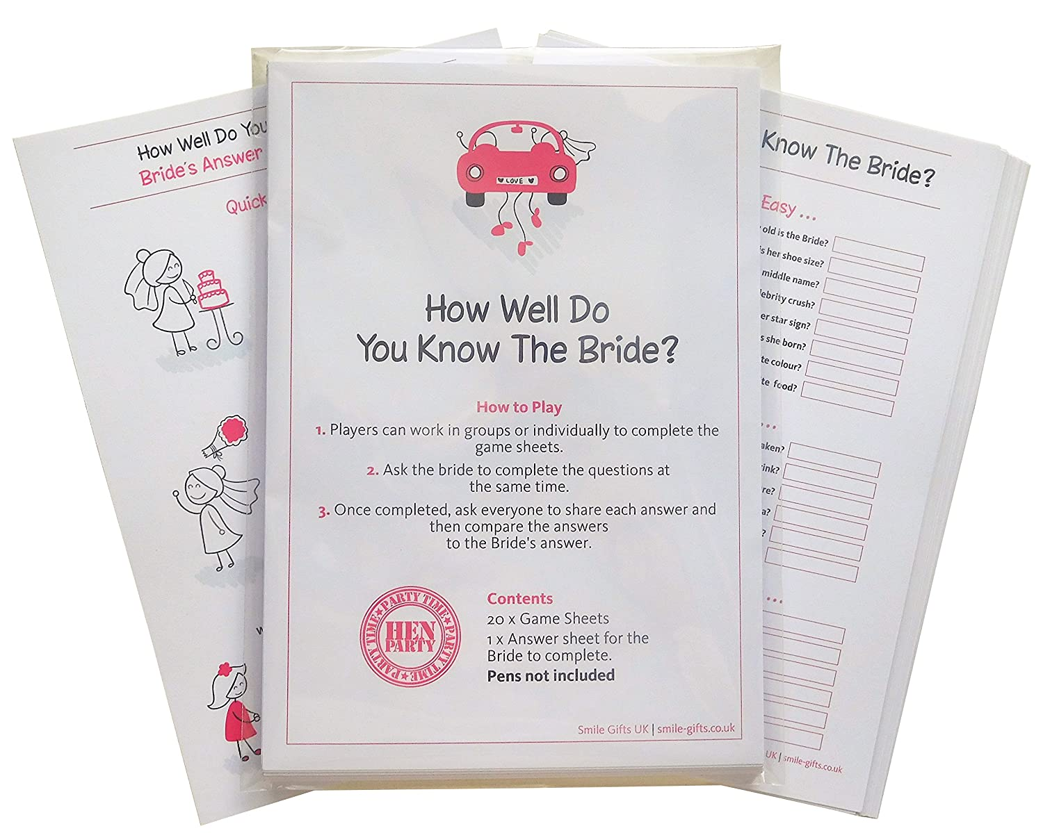 SMILE GIFTS UK How Well Do You Know The Bride? Quiz Game including 20 Game  Cards (plus one for the Bride)- Get your night going with Hen Party Games,