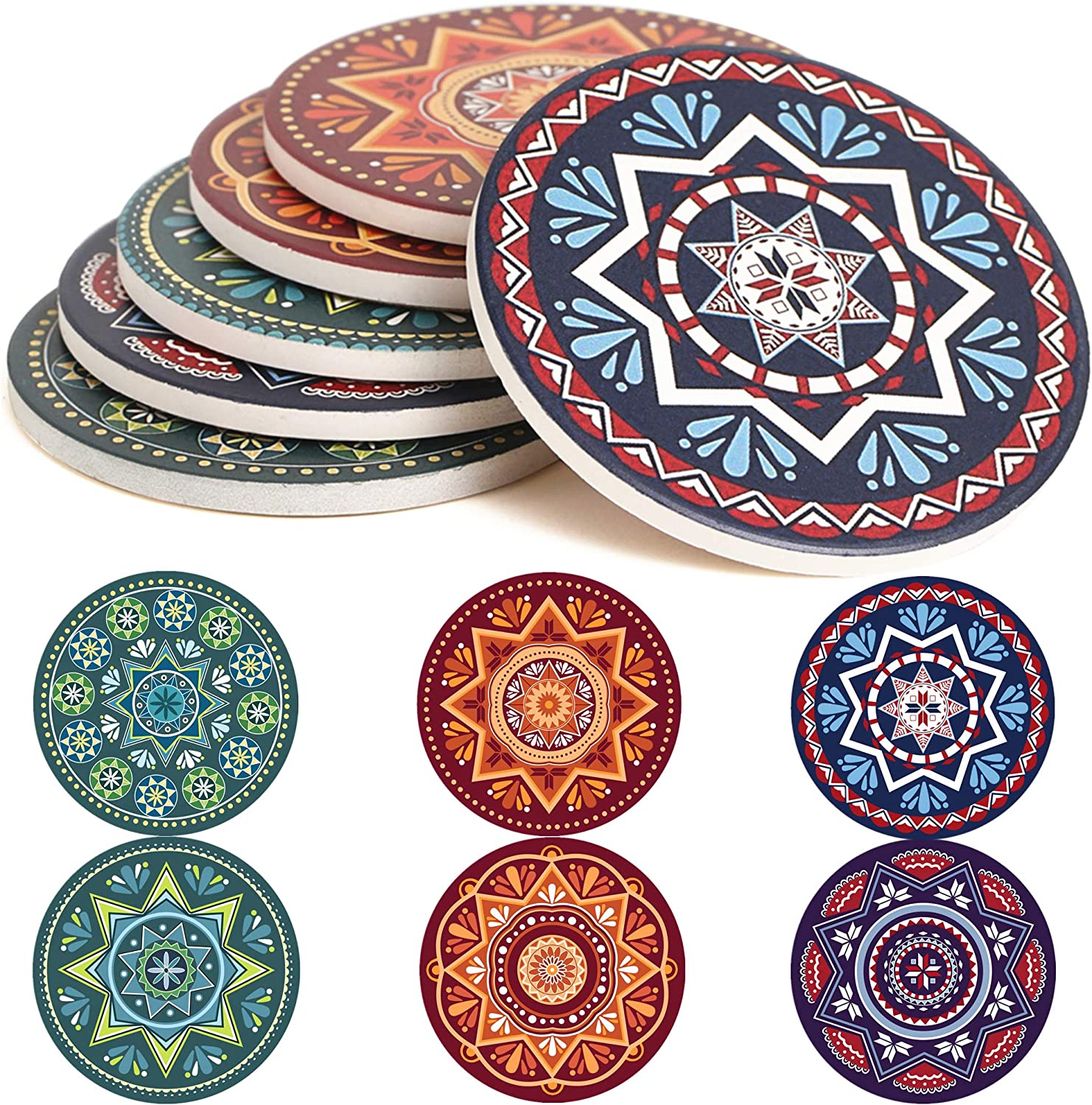 Coasters For Drinks Absorbent - 6 Pretty Mandala Patterns on 4.3 inch Big Ceramic Stone with Cork Back, Thirsty Mats Keep Furniture Free of Damage By Water Stain, ENKORE Coaster Holder Sold Separately