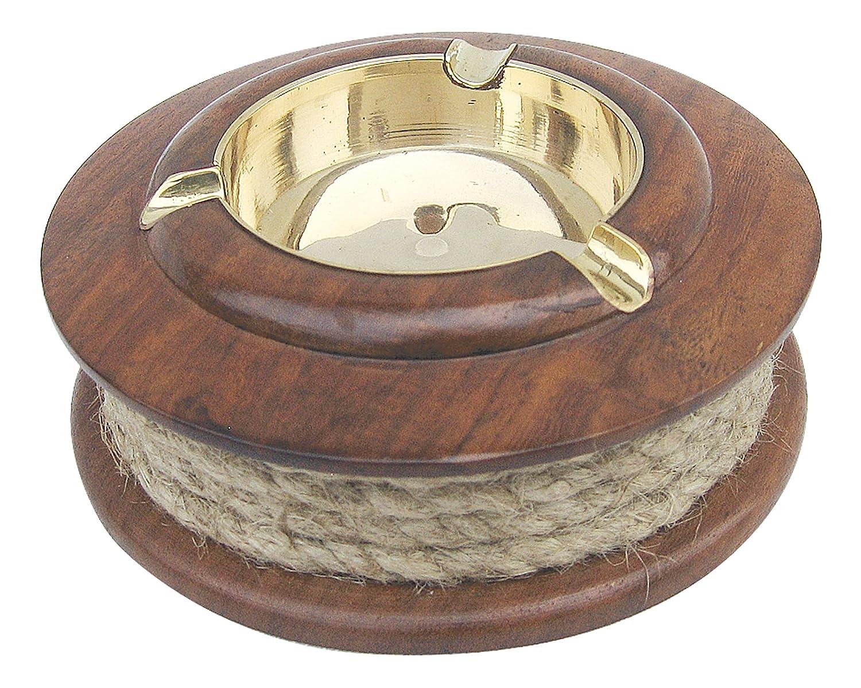 Holz perfekt für die maritime Dekoration Aschenbecher mit Tau Messing