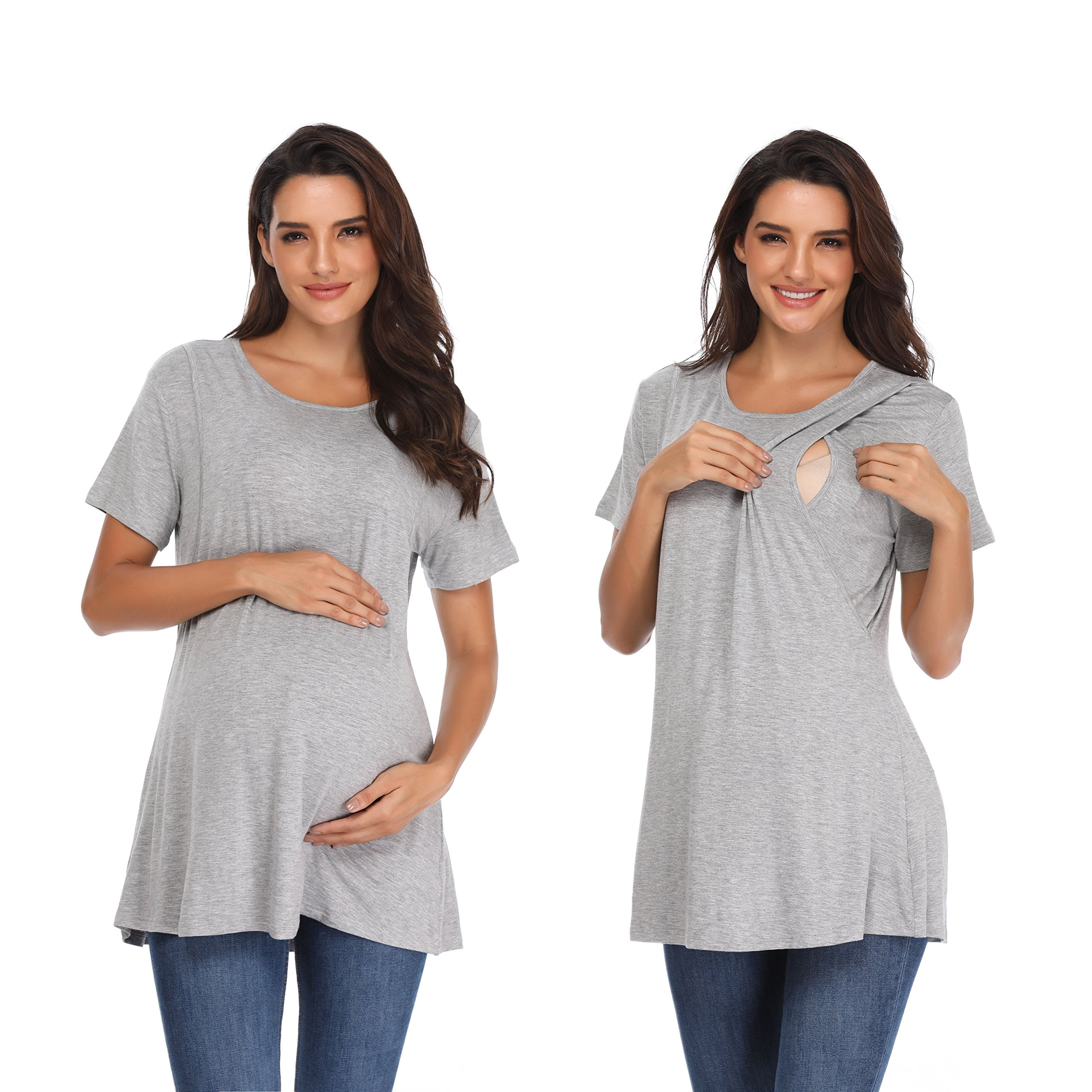 Memory baby Women's Cotton Crew Neck Solid Short Sleeve Maternity T-Shirt Top Gray XL