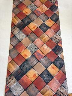 tappeto cucina 52 x 240 legno colorato quadrotti alberi moderno lavabile in lavatrice antiscivolo made in