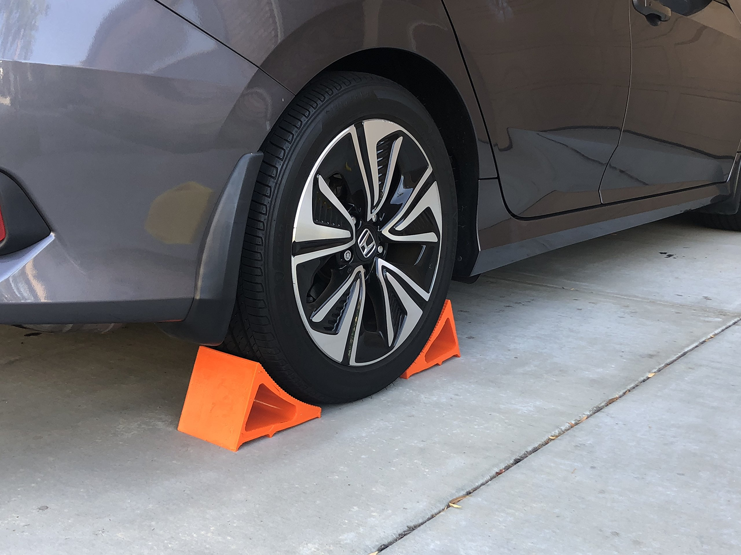 Elasco Wheel Chock, Weatherproof, Outdoor Grade, Polyurethane better than Rubber or Plastic, Keeps Your Trailer or RV In Place, 5 Year Warranty (2 Pack, Orange) by Elasco Products (Image #8)