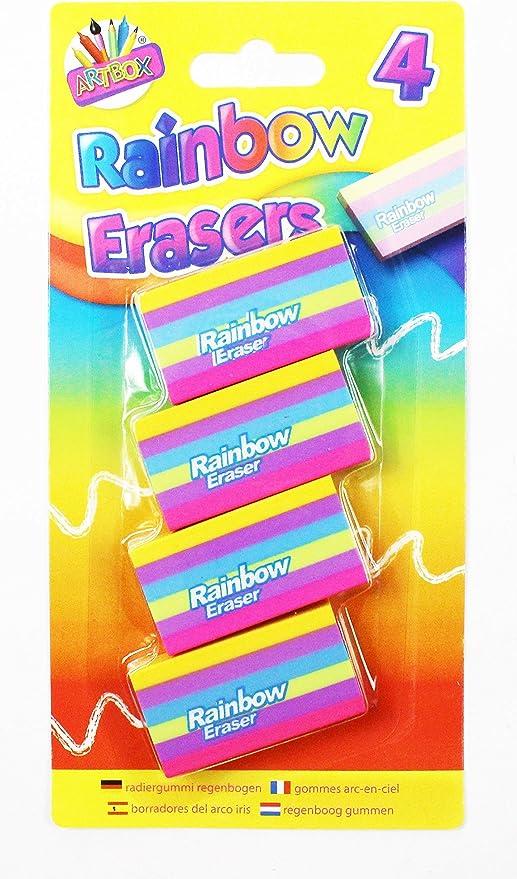 Rainbow rayas gomas de borrar goma de borrar juego de 4 Pack niños ...