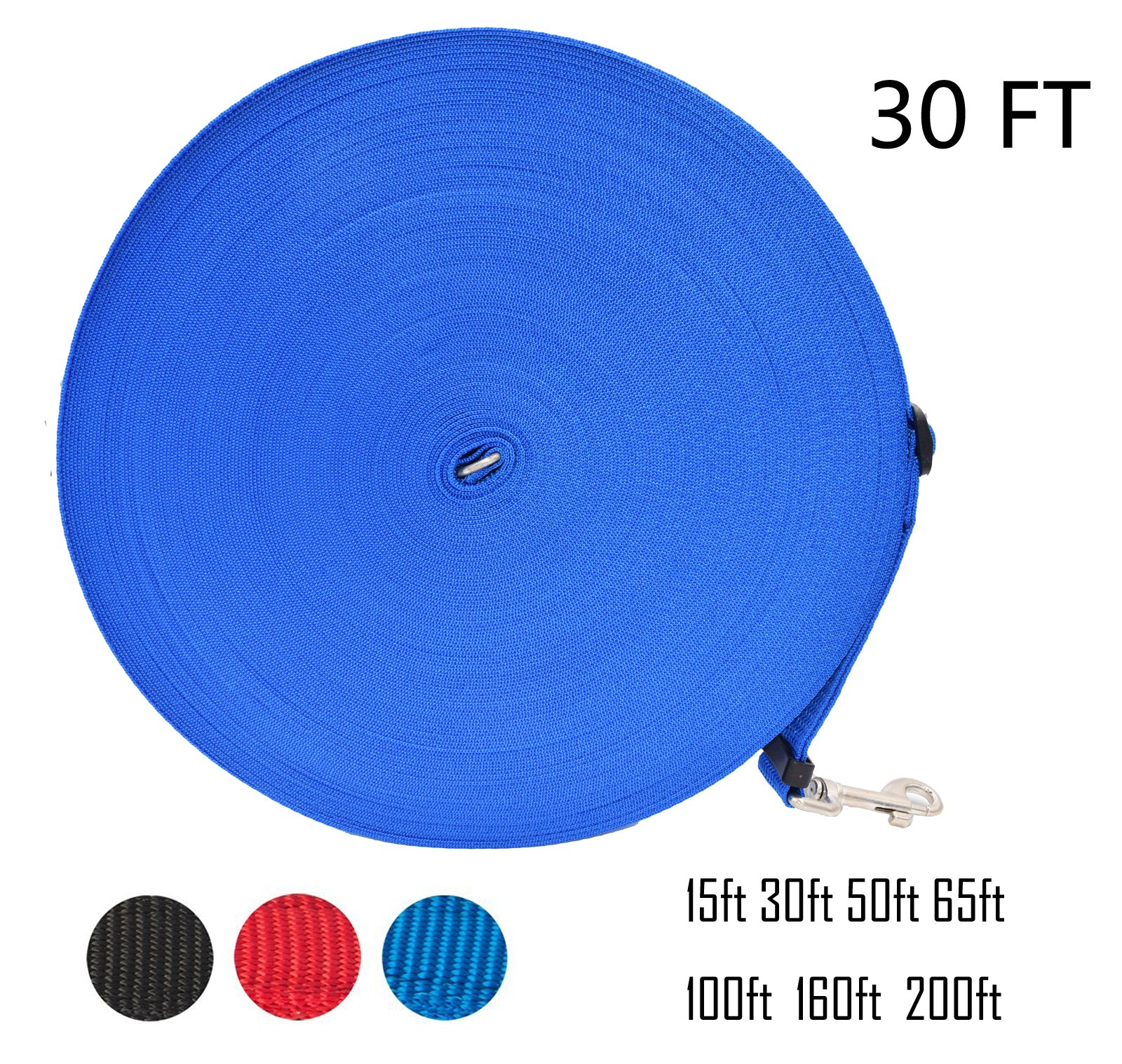 Zhixuanke 1in wide by 15ft 30ft 50ft 100ft 200feet long Nylon Training Leash - For Large,Medium and Small Dogs - Long Lead - Great for Training, Play, Camping, or Backyard (30 FT Blue, Blue)