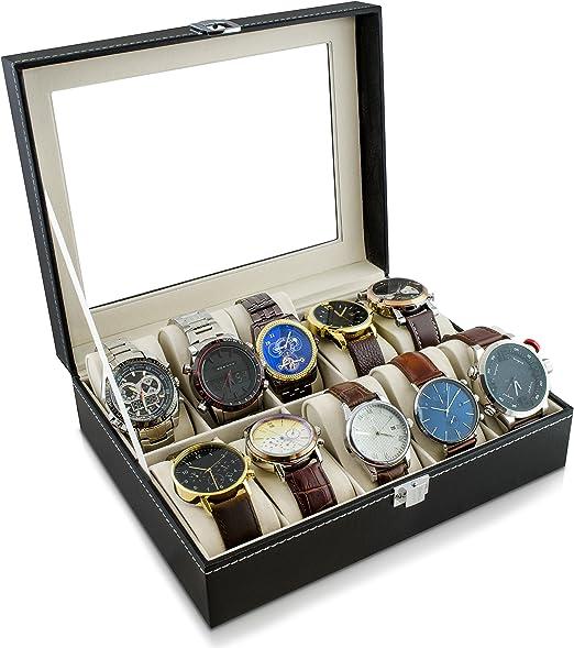 Caja de reloj para guardar 10 relojes - Negro 26 x 21 x 8 cm ...