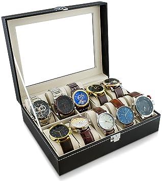 Caja de reloj para guardar 10 relojes - Negro 26 x 21 x 8 cm - Reloj de pulsera Presentación Reloj Organizador - Grinscard: Amazon.es: Juguetes y juegos