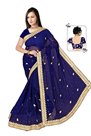 bbdf651bb6 NEW DESIGNER HEAVEY EMBRODED STONE WORK SAREE WITH BLOUSE (NAVY BLUE):  Amazon.in: Clothing & Accessories
