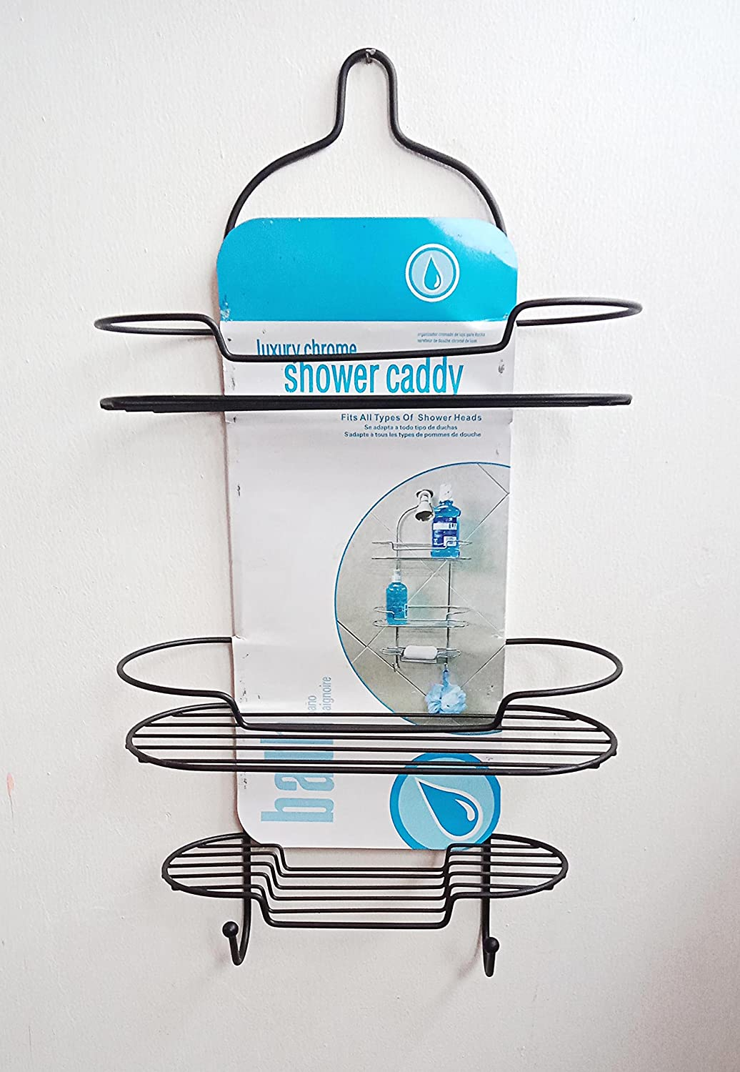 Zahab Stainless Steel Black Coated Double Layer Shower Caddy for ...