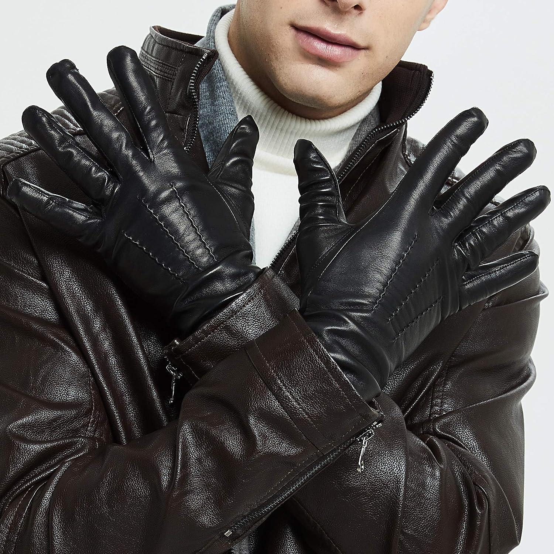 Luxury Soft Leather Gloves for Men Sheep Skin Leather Men/'s Gloves Fleece Lined Winter