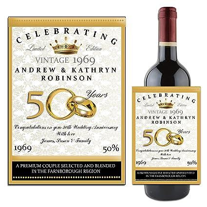 7bda702ad6b Personalised WINE/CHAMPAGNE BOTTLE LABEL ~ Golden 50th Wedding Anniversary  Gift Idea N14: Amazon.co.uk: Kitchen & Home
