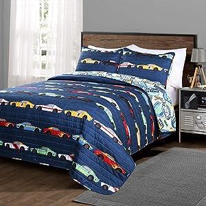 Lush Decor Lush Décor, Navy Race Car Kids' 2-Piece Quilt, Reversible Bedding Set for Boys (Twin)
