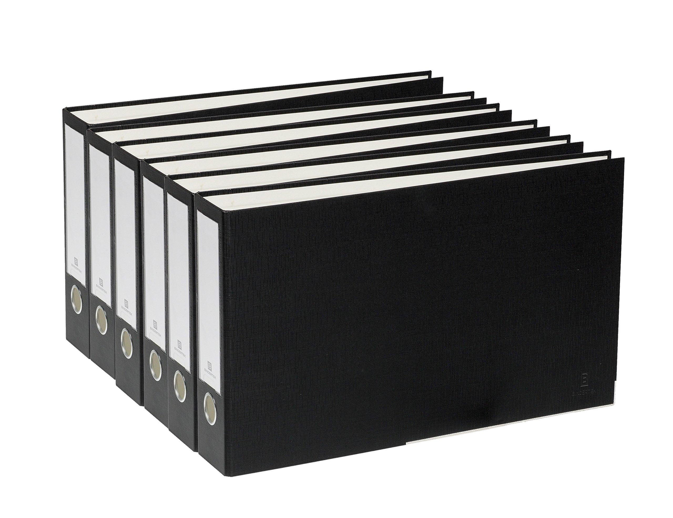 Bindertek 3-Ring 2-Inch Premium Linen Textured Ledger Binder 6-Pack, For 11 x 17 Paper, Black (3LDGPACK-BK)