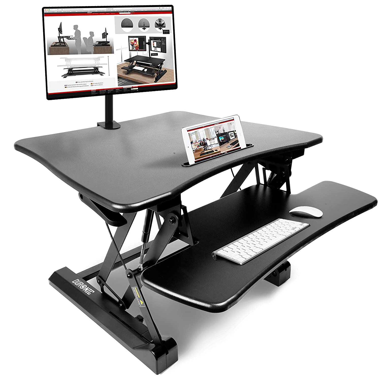Duronic DM05D10 Sit Stand Desk PC Laptop Workstation Height Adjustable Table - Monitor and Keyboard Riser – Compatible Monitor Arm DM05-D10