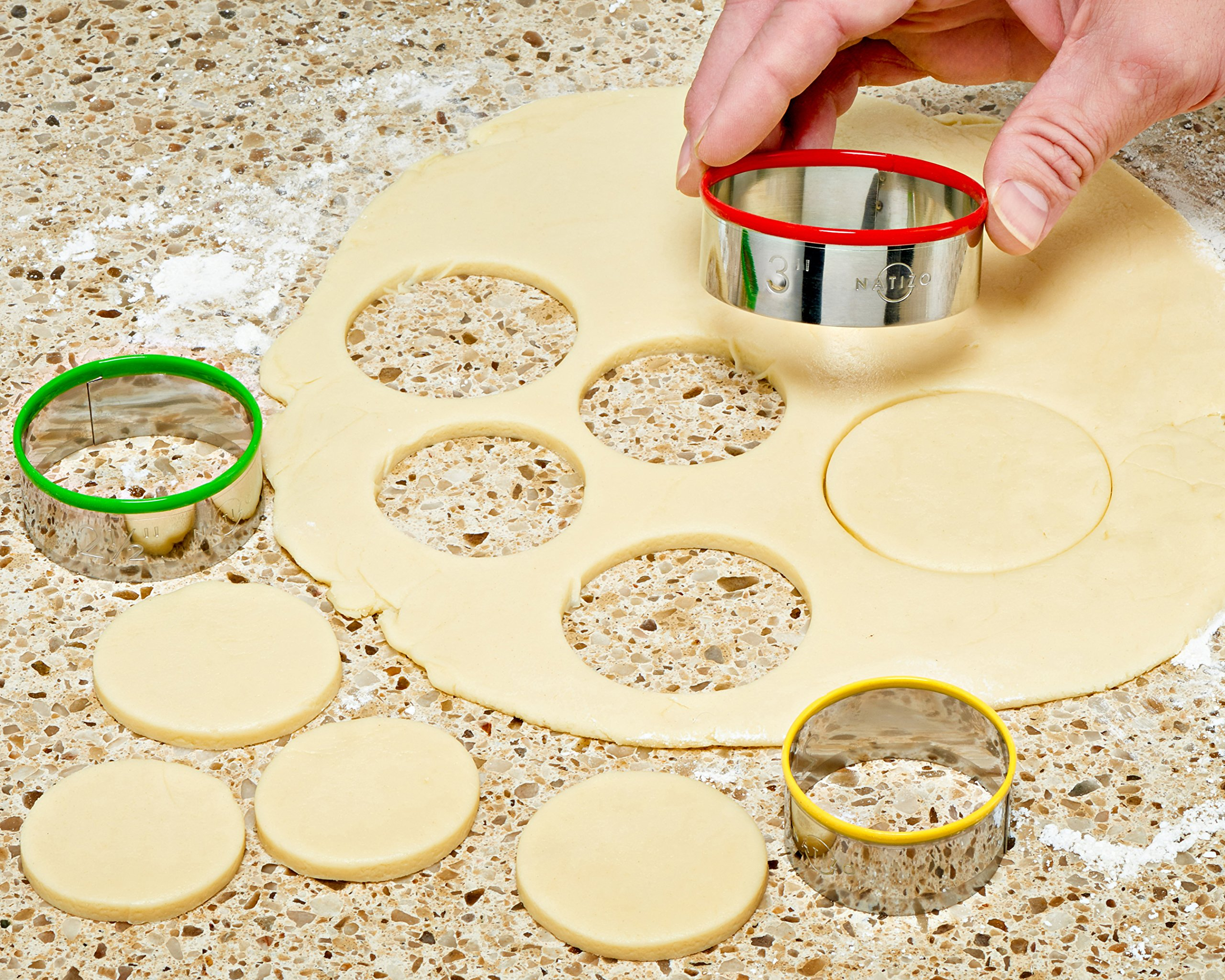 Natizo 12 Piece Round Stainless Steel Cookie Cutter Set - Size On Every Cutter - Silicone Tops by Natizo (Image #6)