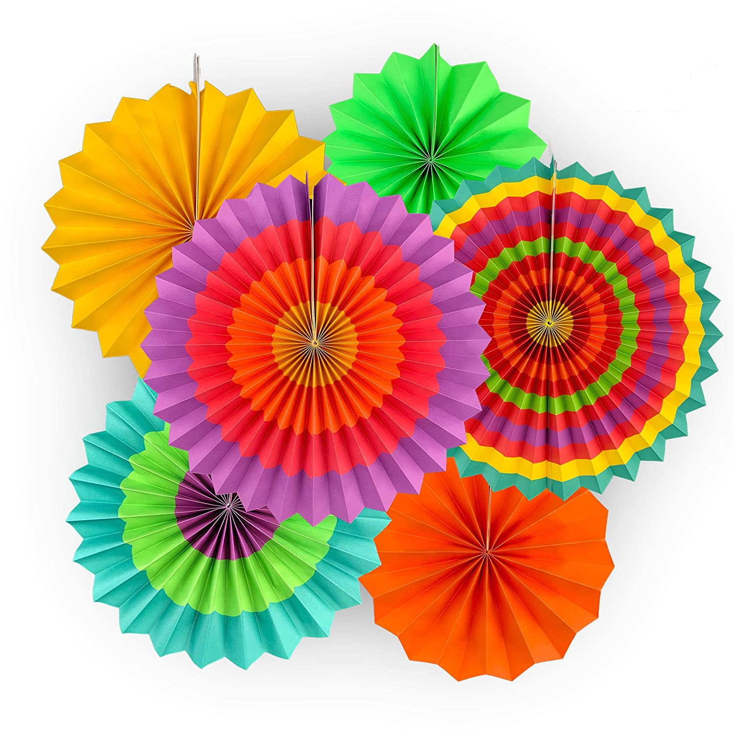 "Adorox Set of 12 Vibrant Bright Colors Hanging Paper Fans Cinco De Mayo Mexican fiesta Southwestern Rosettes Party Decoration for Holidays 8"" 12"" 16"" Various Sizes Fiesta (2 pack)"