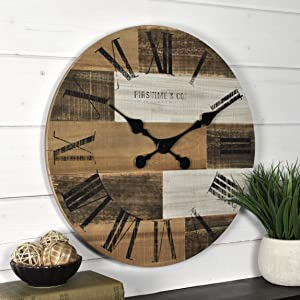 "FirsTime & Co. 18"" Pallets Wall Clock, Dark, Light, Gray Brown"