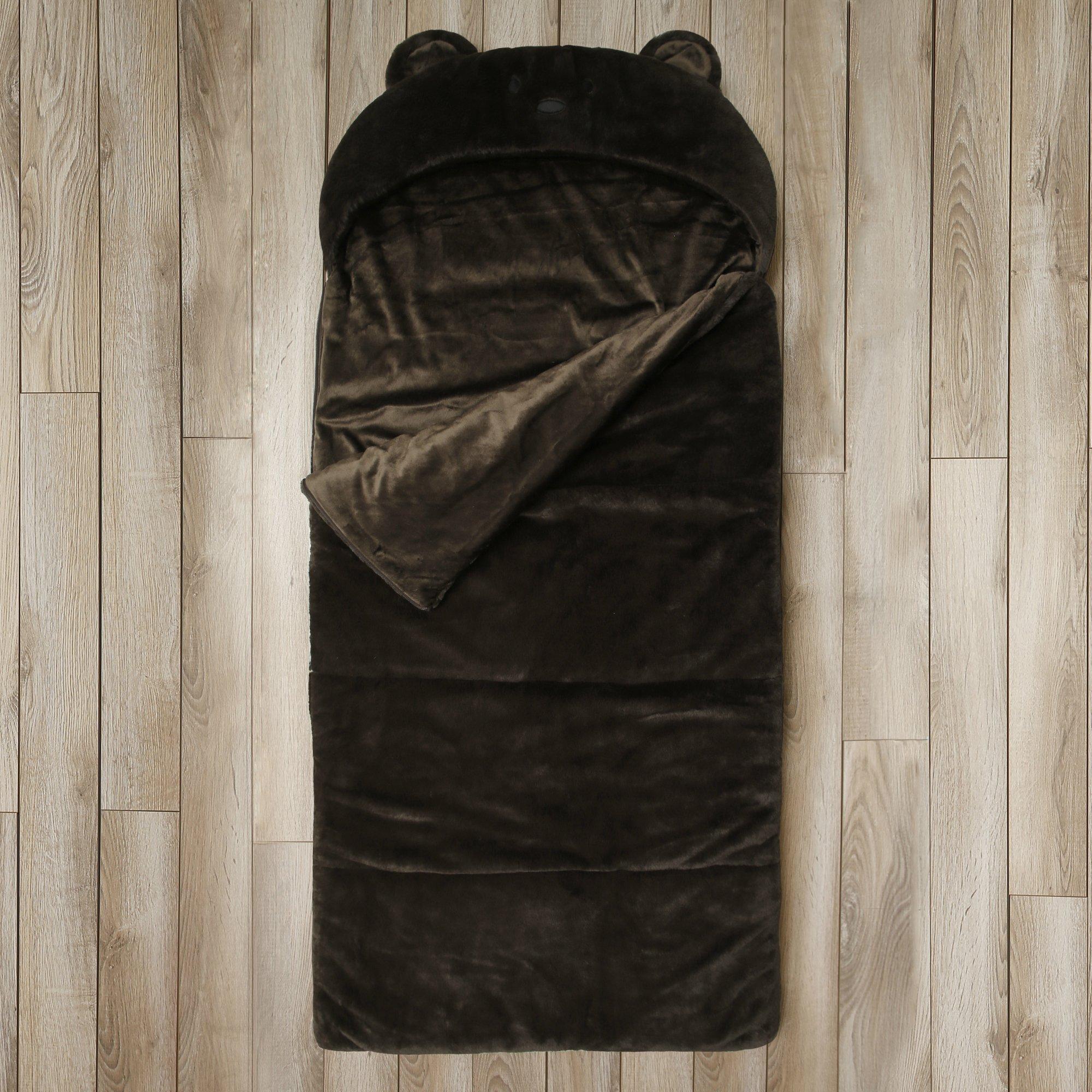 Kids Sleeping Bag Toddler Plush Bear Faux Fur Gift (Brown)