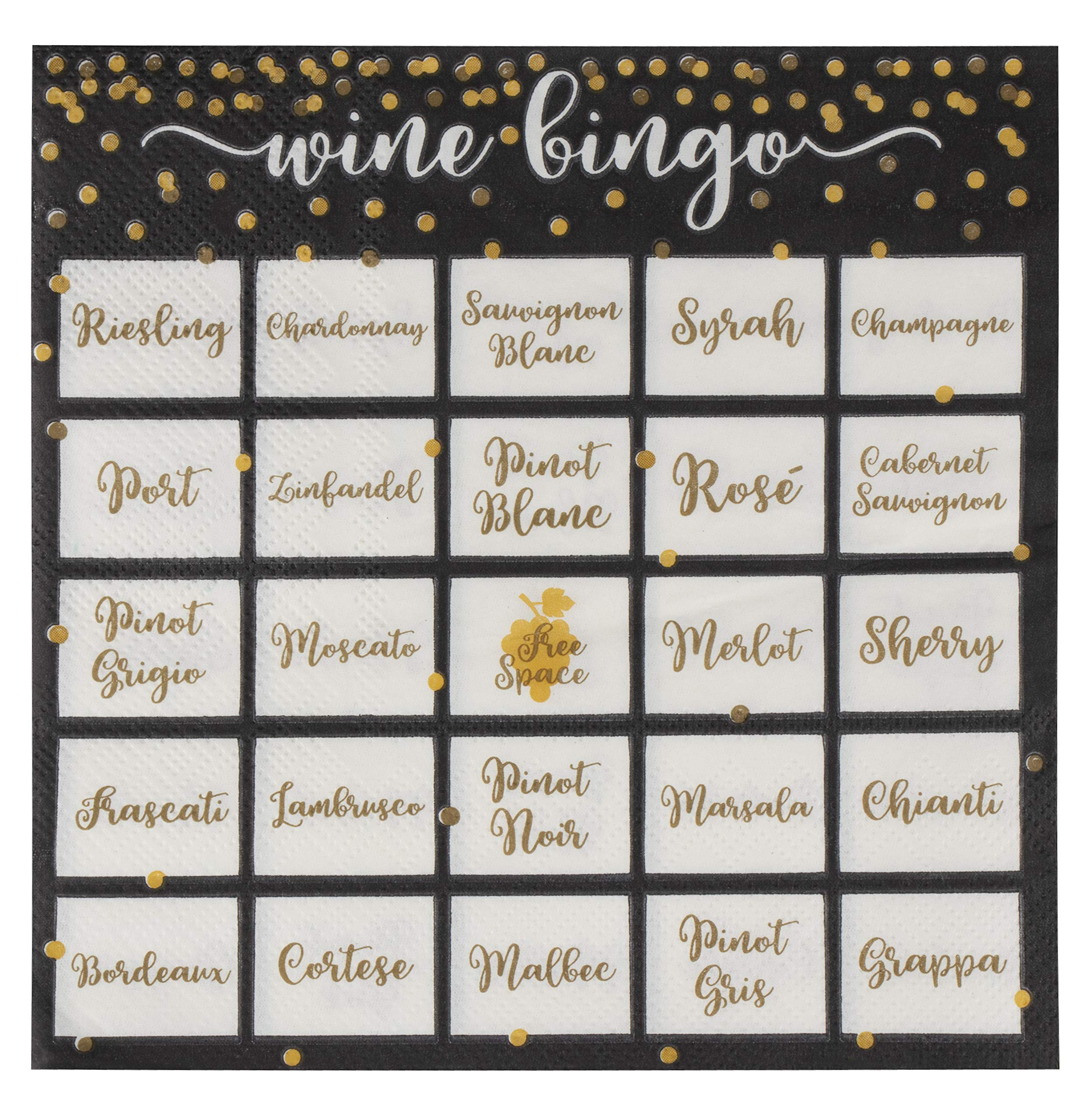 Fun Wine Napkins - 100-Pack Disposable Paper Napkins, 2-Ply, Wine Tasting Party Supplies, Wine Bingo Print, Black, Luncheon Size Folded 6.5 x 6.5 Inches