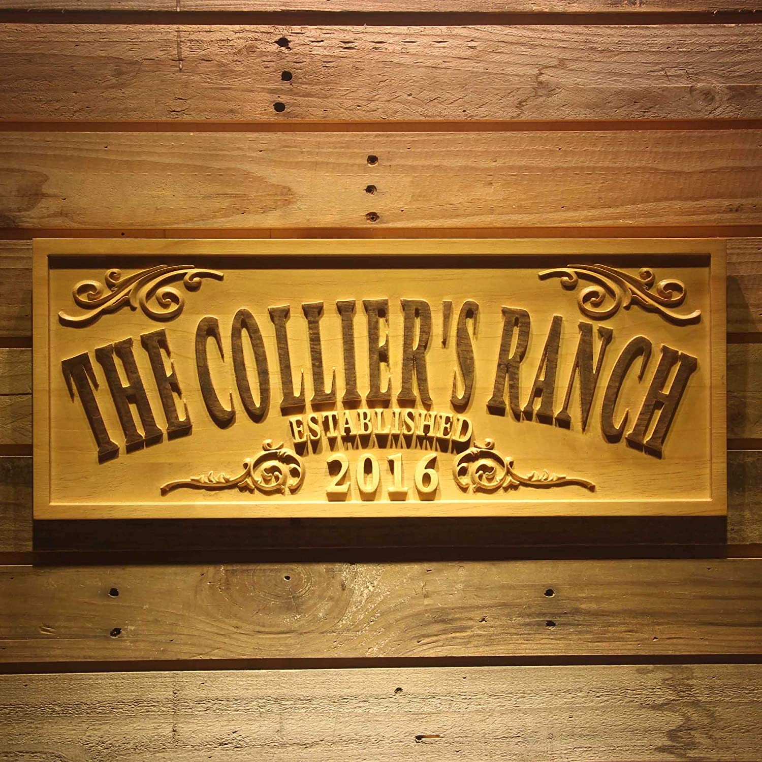 wpa0354 Name Personalized THE RANCH Farm Decoration Established Year Gifts Wood Engraved Wooden Sign ADV PRO model