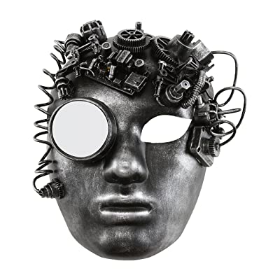 Volto Style Venetian Masquerade Steampunk Halloween Masks (Silver Volto Full Face Steampunk Mask): Clothing