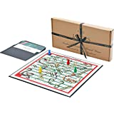 Snakes & Ladders - Luxury Linen Finish Snakes and Ladders Board Game with Wooden Pieces - Jaques of London
