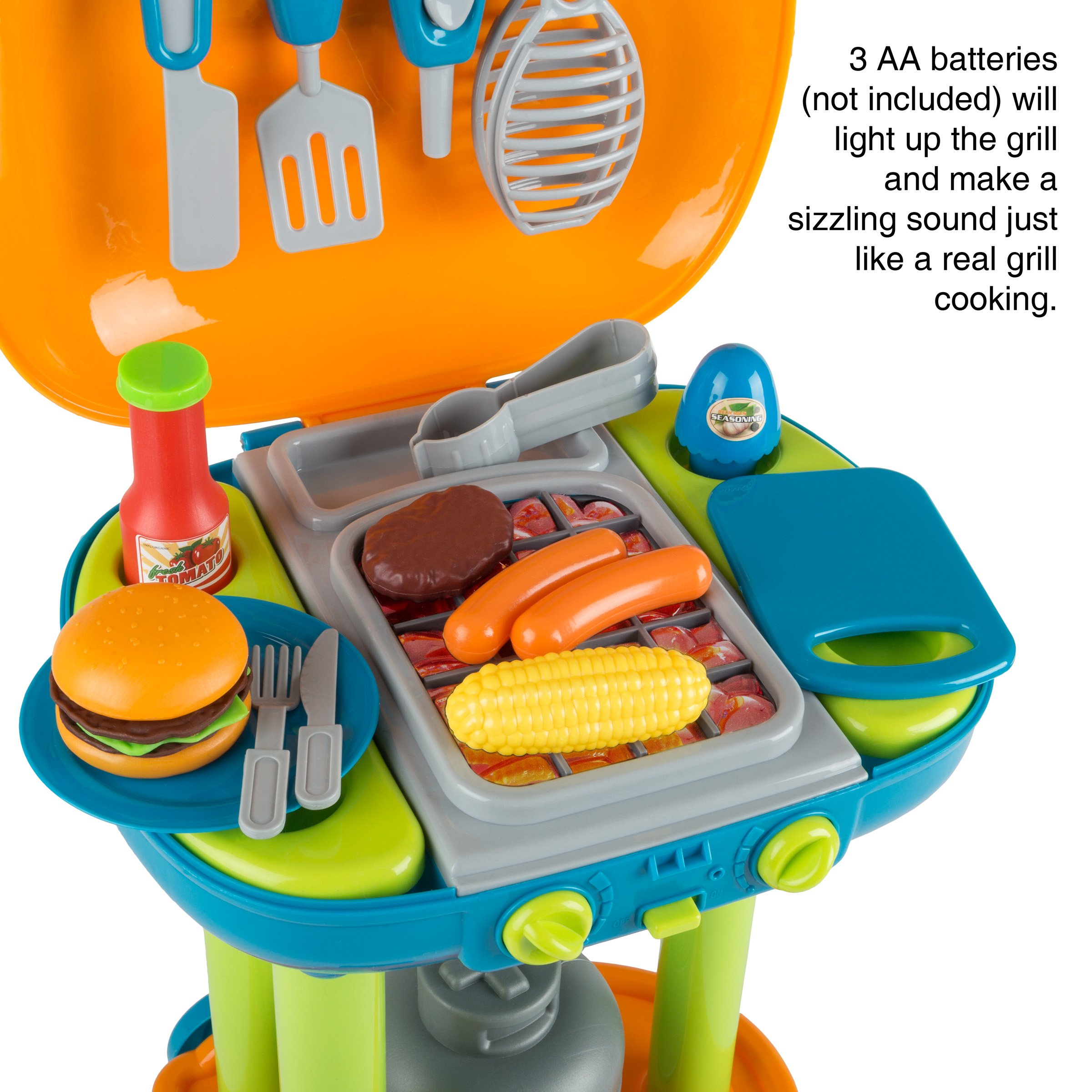 BBQ Grill Toy Set- Kids Dinner Playset with Realistic Sounds and Grate Lights- Includes Barbecue Food and Accessories, Pretend Kitchen by Hey! Play! (Image #3)