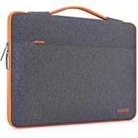 MOSISO Laptop Sleeve Compatible with 13-13.3 inch MacBook Pro, MacBook Air, Notebook, Polyester 360 Protective Case Bag Carrying Handbag with Fully Open Zipper&Mesh Pocket, Dark Gray & Orange