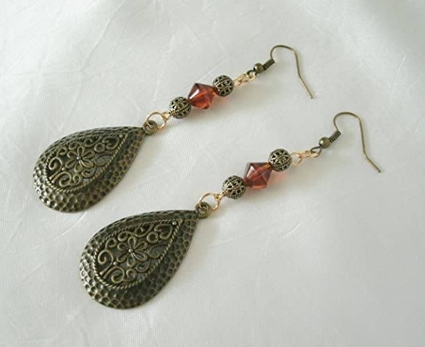c22a8ae39 Amazon.com: Brass Earrings, handmade jewelry boho bohemian hippie gypsy  moroccan: Handmade