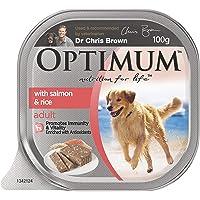 OPTIMUM Salmon and Rice Wet Dog Food, 100g Tray, 12 Pack, Adult, Small/Medium/Large