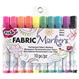 Tulip 31649 Permanent Nontoxic Fabric Markers Neon 10 Pack - Wide Bullet Tip, Child Safe, Minimal Bleed & Fast Drying - Premium Quality for T-Shirts, Clothes, Shoes, Bags & Other Fabric Materials